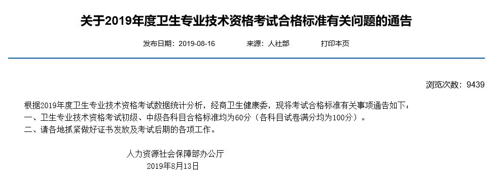 吉林2019年主管护师ope体育网站合格分数线已公布